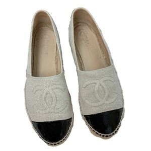 Chanel Cracked Leather Two Tone Espadrilles
